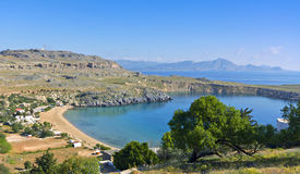 Lindos village at Rhodes island Royalty Free Stock Images