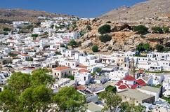 Lindos village on Rhodes island Royalty Free Stock Photography