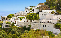 Lindos village at Rhodes island, Greece Stock Image