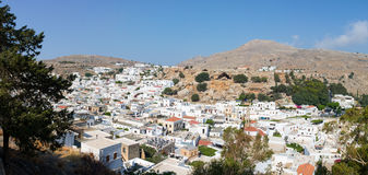 Lindos, the white city panorama Stock Photography