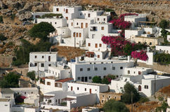 Lindos whitewashed houses Stock Photo