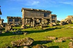 Lindoso granaries in National Park of Peneda Geres. Portugal royalty free stock image