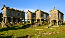 Lindoso granaries in National Park of Peneda Geres. Portugal royalty free stock photography