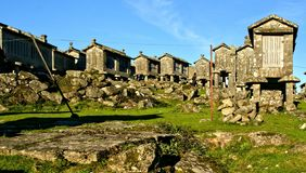 Lindoso granaries in National Park of Peneda Geres. Portugal royalty free stock images