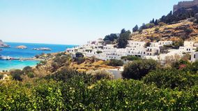 Lindospanorama Griekenland stock foto's