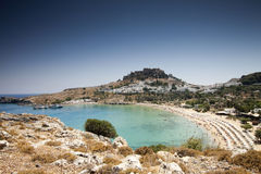 Lindou Bay from Lindos Rhodes island Royalty Free Stock Photos