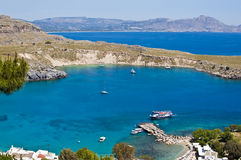 Lindou Bay from Lindos Stock Images