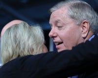 Presidential candidate hopeful Lindsey Graham gets a hug Stock Photography