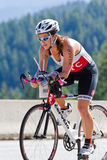 Lindsey Thurman in the Coeur d' Alene Ironman cycling event Stock Image