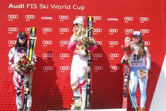 Lindsey Vonn ,  Anna Fenninger and  Tina Maze 2015 World Cup in Meribel Royalty Free Stock Photo