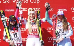 Lindsey Vonn ,  Anna Fenninger and  Tina Maze 2015 World Cup in Meribel Stock Images