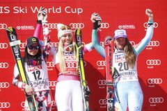 Lindsey Vonn ,  Anna Fenninger and  Tina Maze 2015 World Cup in Meribel Royalty Free Stock Image