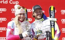 Lindsey Vonn and Kjetil Jansrud  2015 World Cup in Meribel Royalty Free Stock Image