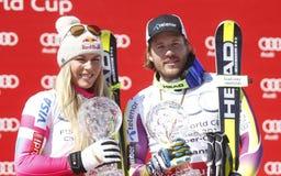 Lindsey Vonn and Kjetil Jansrud  2015 World Cup in Meribel Stock Photos