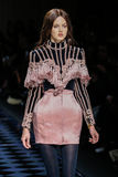 Lindsey Wixson walks the runway during the Balmain show Stock Photos