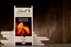 Lindt不同的口味巧克力块  库存照片