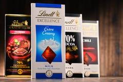 Lindt不同的口味巧克力块  免版税库存图片