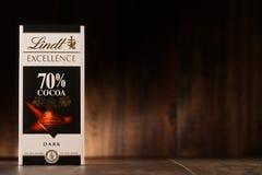 Lindt巧克力块, 70%可可粉口味 免版税库存图片