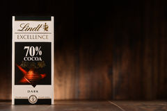 Lindt chocolate bar, 70% cocoa taste Royalty Free Stock Images