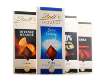 Lindt chocolate bars of different tastes isolated on white Stock Image