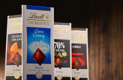 Lindt chocolate bars of different tastes Stock Images