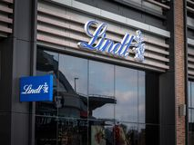 Lindt Logo on their main shop in Ottawa. stock images