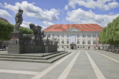 Lindwurm fountain and Town Hall in Klagenfurt Stock Photos