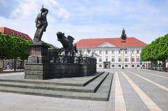 Lindwurmbrunnen (Lindworm fontanna) w Klagenfurt, Austria fotografia stock
