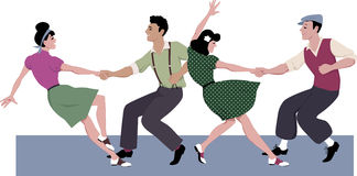 Lindy hop competition. Two young couple dressed in 1940s fashion dancing lindy hop or swing in a formation, vector illustration, isolated on white, no Stock Photography