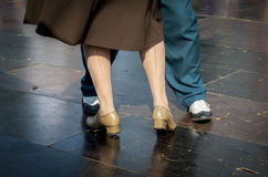 A Lindy Hop dancing couple. The feet of a Lindy Hop dancing couple Stock Photo
