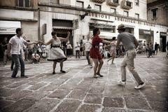 Lindy Hop Flash Mob Imagen de archivo libre de regalías