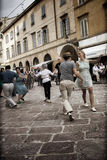 Lindy Hop Flash Mob. Flash Mob itinerant in the city center of Parma, Italy. The Swing is coming back with all his energy and all his load of happiness Stock Photos