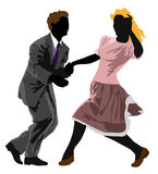 Lindy Hop. A  illustration of a couple of lindy hop dancers Royalty Free Stock Images