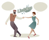 Lindy Hop Party. Young hipster couple dancing swing. Cartoon sty Stock Photography