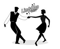 Lindy Hop Party. Young hipster couple dancing swing. Cartoon sty Royalty Free Stock Images