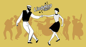 Lindy Hop Party. Young hipster couple dancing swing. Cartoon sty Stock Photo