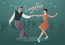 Lindy Hop Party. Young hipster couple dancing swing. Cartoon sty Stock Image