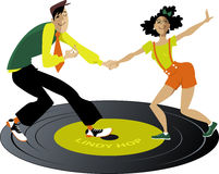 Lindy Hop on a record Royalty Free Stock Photography