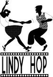 Lindy hop silhouette. Black vector silhouette of a couple dancing lindy hop, no white Stock Image