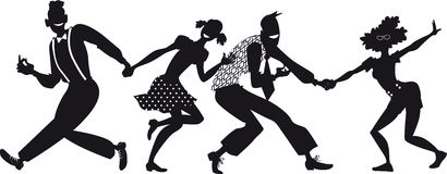 Lindy hop silhouette Royalty Free Stock Image