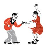 Dancing seniors. Happy old people have fun. Active pensioners.Retro red color.Couple silhouettes dancing swing, rock Stock Photos