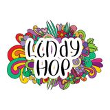Lindy Hop Tangle pattern background. Doodle flowers and text for the partner dancing. Vector illustration Stock Photography