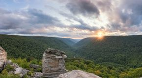Lindy Point Panorama sunset Blackwater Falls State Park Royalty Free Stock Image