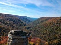 Lindy punkt Przegapia, Allegheny góry, Zachodnia Virginia fotografia stock