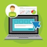 On-line-Übersichtsbericht und -bewertung Stockfoto