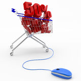 On-line αγοράζοντας, έννοια έκπτωσης Στοκ Εικόνες