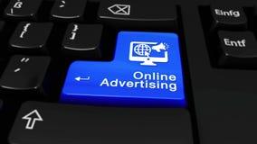 On-line διαφήμιση γύρω από την κίνηση στο κουμπί πληκτρολογίων υπολογιστών απόθεμα βίντεο