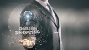 On-line ψωνίζοντας με την έννοια επιχειρηματιών ολογραμμάτων βολβών απόθεμα βίντεο