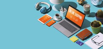 On-line ψωνίζοντας apps στο lap-top και τις κινητές συσκευές ελεύθερη απεικόνιση δικαιώματος