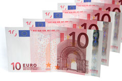 Line of 10 Euros notes. A line of 10 Euros notes royalty free stock images